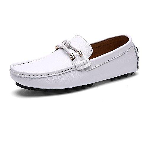 los Cuerda tamaño Goma de shoes decoración 40 Casuales Mocasines conducción Mocasines Armada Hombres Blanco de centavo EU Suela de Xiazhi de con Color entrelazada Suave de nq0OUBwdx