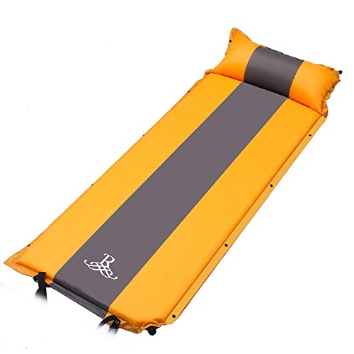 BELLAMORE GIFT Self-Inflating Sleeping Pad with Armrest Pillow – Inflatable Foam Sleeping Mat for Hiking, Camping, and Traveling – Compact, Durable