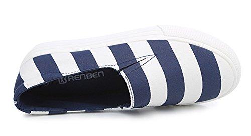 Aisun Da Donna A Righe Slip On Sneakers In Tela Blu Scuro