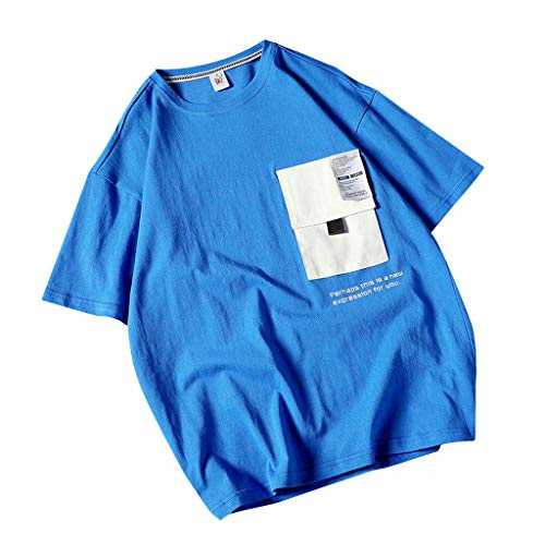 LEKODE Men T-Shirt Printing Casual Fashion Loose Handsome Short Sleeve Tops Blouse(Blue,M(L))