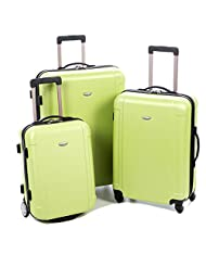 Traveller's Choice Freedom 3 Piece Lightweight Hard Shell Spinning/Rolling Luggage Set, Freedom 3 Piece Lightweight Hard Shell Suitcase Set (Apple Green)