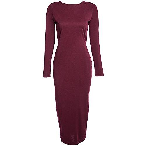 Leomodo Simple Round Collar Long Sleeve Zipper Design Skinny Women Midi Dress Wine Red]()