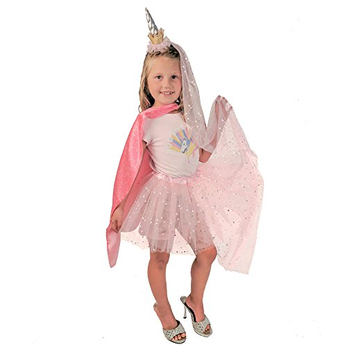 Princess Unicorn Super Hero Reversible Cape set, Headband,Sparkling Pink Tutu,Veil for girls.