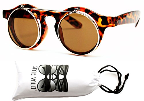 W83-vp Style Vault 80s Flip up or 80s Sunglasses (S1112V Crystal Tortoise brown/gold-brown, - Sunglasses Old Style