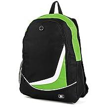 """SumacLife Multiple Nylon Athletic Ultra-Lightweight Sport Backpack / Shoulder Bag / School Backpack / Trave Bag / Laptop Bag Fits 14"""" 15"""" inch(Green/Black)"""