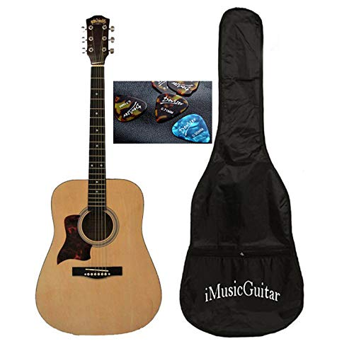 Left handed Acoustic Guitar for beginners 41 inch Full Size iMusic579L with Soft bag and 3 picks iMusicGuitar