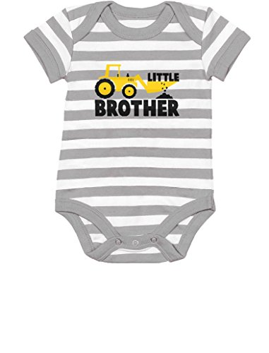 Tstars TeeStars - Little Brother Baby Shower Gift Tractor Loving Boys Baby Bodysuit 6M Gray/White