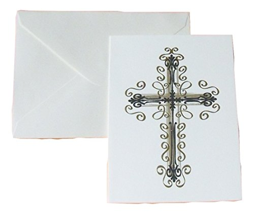 Gold Foil Blank Cards ~ Once Discovered (Cross; 6 Cards with Ivory Envelopes; 3.75