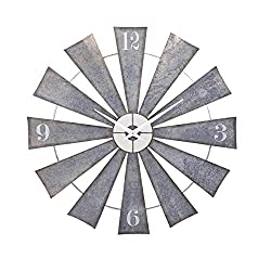 CC Home Furnishings 48 Steel and Pewter Gray Weathered Windmill Wall Clock