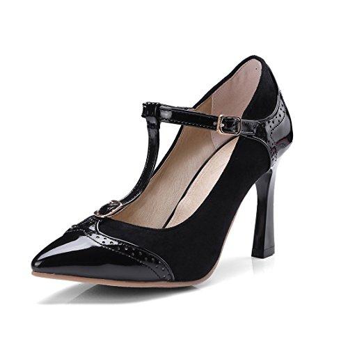 Primavera el T Zapatos Tacón de Tacón de de Durante Mujer Zapatos Señaló black Zapatos y la Otoño w5YYIxnd