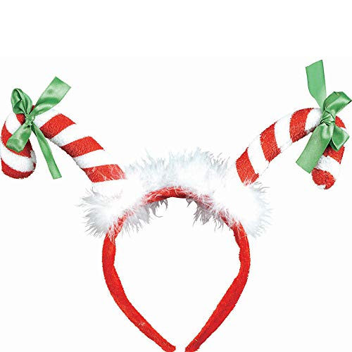 amscan Candy Cane Plush Fabric with Marabou Headband | Christmas Accessory