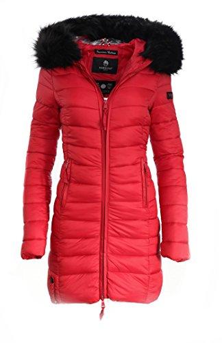 2b0917a10c5e Marikoo Damen Winter Jacke Mantel Steppmantel Übergangsjacke Lang Parka XS-XXL  ROSE110 Rot nMohOu