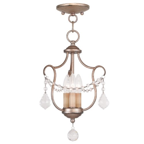 Livex Lighting 6420-73 Chesterfield 3 Light Convertible Chain Hang/Ceiling Mount, Hand Painted Antique Silver Leaf - Hand Painted Ceiling Light