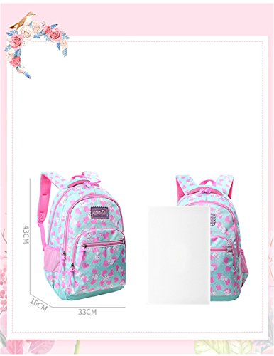 Students Backpack Book Heart Adanina Print Girls For Kids Rucksack Green Bag aZFRqU