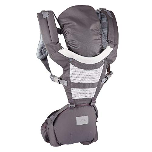 Cozzine Baby Carrier with Hip Seat, Ergonomic Baby Caring Belt Backpack Carrier Cover for Infant & Toddler, All Carry Positions (Grey)