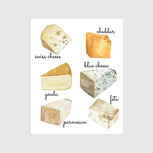 Cheese Varieties Wall Art, Kitchen Art Print, Your Choice 4x6, 5x7, 8x10 or 11x14