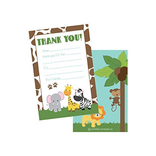 25 Jungle Kids Thank You Cards, Fill In Thank You Notes For Kid, Blank Personalized Thank Yous For Birthday Gifts, Stationery For Children Boys and Girls