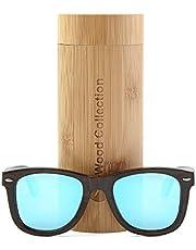 anmao Wood Sunglasses with Polarized lenses-Handmade Unisex Sunglasses Floating Wood Shades VSH324