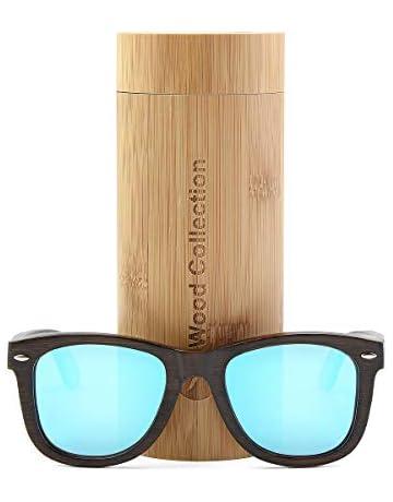 533bff01870 anmao Wood Sunglasses with Polarized lenses-Handmade Unisex Sunglasses  Floating Wood Shades VSH324