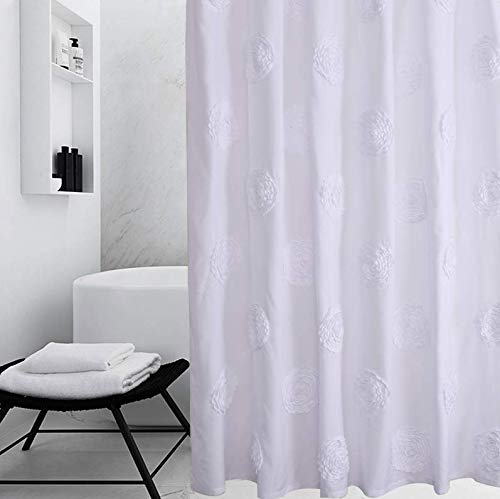 Ameritex Ruffle Shower Curtain Home Decor | Soft Polyester, Decorative Bathroom Accessories | Great for Showers & Bathtubs |Large Size,72