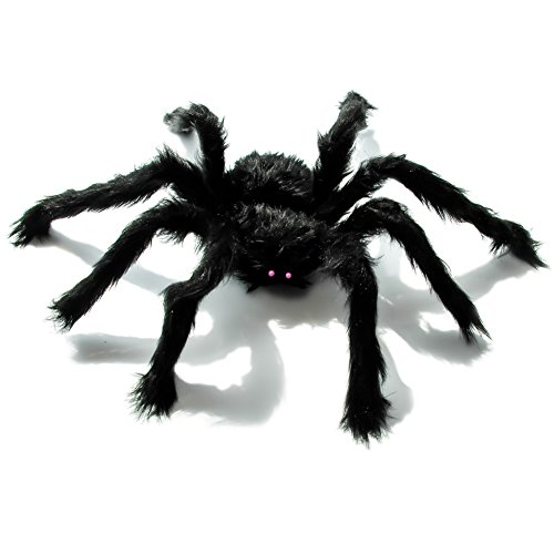 TOAOB 19 inch Black Giant Spider Fake Hairy Spider Scary Decorations Halloween Spider Props Outdoor Yard Decor]()