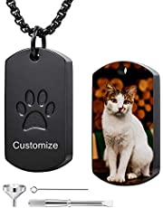 MeMeDIY Personalized Paw Print Dog Tag Pendant Urn Ashes Necklace Engraving Photo/Name/Text for Women Men Boy Girl Stainless Steel Pet Dog Cat Memorial Jewelry Keepsake Cremation with Funnel Kit