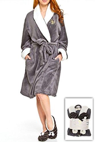 2f0506b537 Adrienne Vittadini Women s Plush Sherpa Lined Bath Robe   Sherpa Printed  Slippers Set