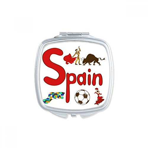 DIYthinker Spain National symbol Landmark Pattern Square Compact Makeup Mirror Portable Cute Hand Pocket Mirrors Gift by DIYthinker