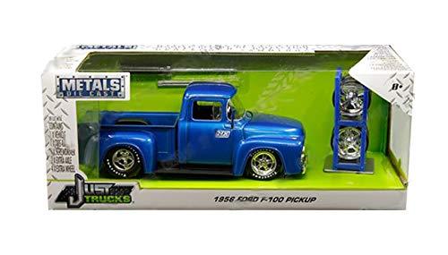 New DIECAST Toys CAR JADA 1:24 W/B - Metals - JUST Trucks with Extra Wheels - 1956 Ford F-100 Pickup (Blue) - Nitrous Express (NX) 30709-MJ