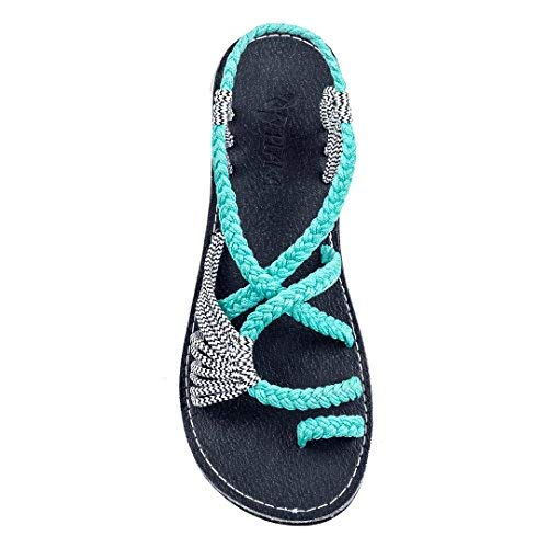 (Plaka Flat Summer Sandals for Women Turquoise Zebra 8 Palm Leaf)