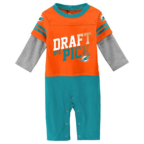 Outerstuff NFL Miami Dolphins Newborn & Infant Draft Pick Long Sleeve Coverall Orange, 6-9 Months (Miami Nfl Dolphins Draft)