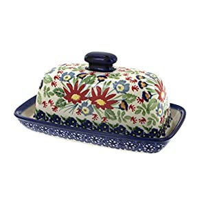 Blue Rose Polish Pottery Jungle Bouquet Butter Dish