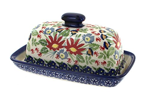 Blue Rose Polish Pottery Jungle Bouquet Butter Dish ()