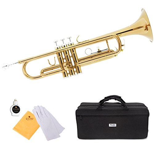 Mendini by Cecilio Brass Bb Trumpet with Durable Deluxe Case and 1 Year Warranty, MTT-L Gold Lacquer ()