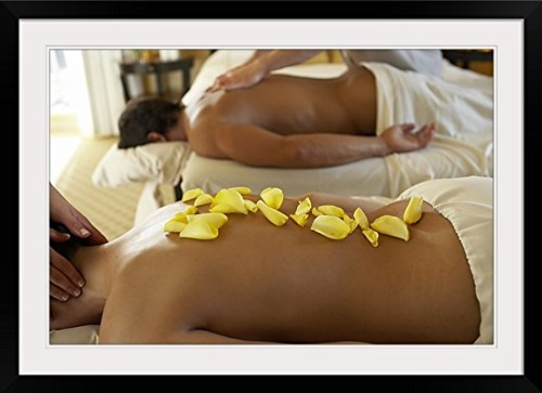 GreatBIGCanvas ''Couple Receiving Massage by Two Masseurs'' Photographic Print with black Frame, 36'' X 24''''