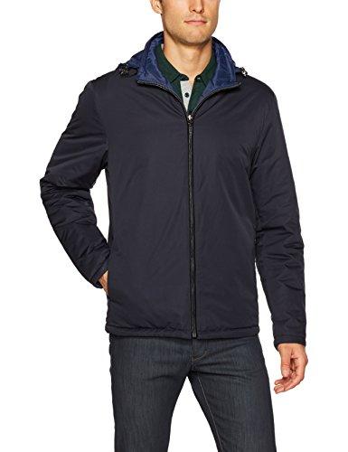 Bugatchi Men's Water Resistant Nylon Reversible Jacket, Navy Small