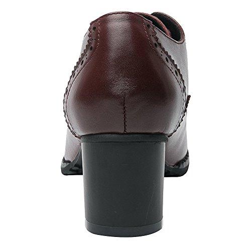 Brogue Rismart Mujer Cordones De Punta Puntiaguda Borgoña Zapatos Wingtips Cuero Oxfords 55UxwFnr