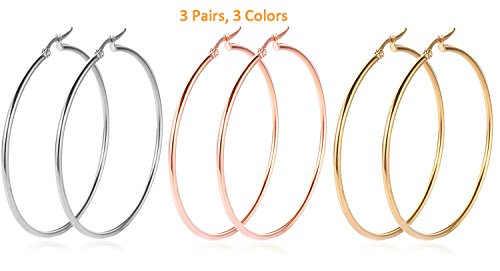 Big Hoop Earrings, 3 Pairs, 18K Gold Plated Rose Gold Plated Stainless Steel Rounded Hoops Earrings in Gift Box, Hypoallergenic, Top Click Closure Hoop Earrings for Women Girls (55mm) (Gold Earrings Hoop Women)