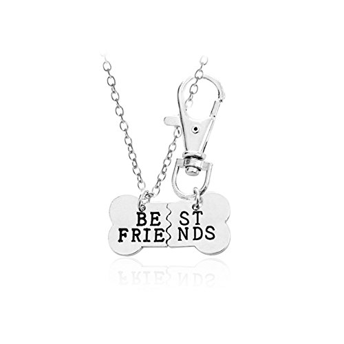 BFF Friendship Necklace Key Chain Best Friends Charm Necklace Keychain Dog Bone Puzzle Pendant Matching Gift Set for 2