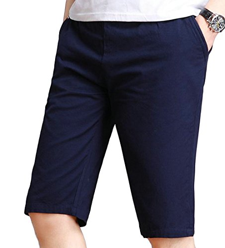 Cromoncent Men's Classic Trousers Beach Casual Sports Straight Solid Color Short Navy Blue L by Cromoncent