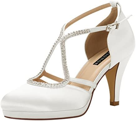 Erijunor E0260d Women Comfort Low Heel Closed Toe Ankle Strap