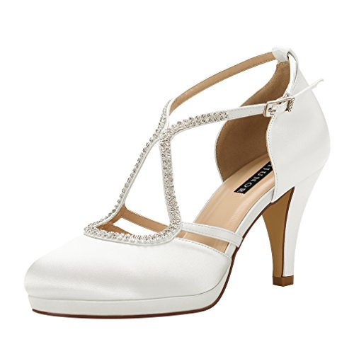 Bridal Wedding Pumps - ERIJUNOR E0260D Women Comfort Low Heel Closed-Toe Ankle Strap Platform Satin Bridal Wedding Shoes Ivory Size 8