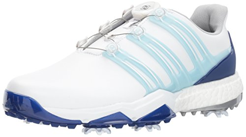 Adidas Powerband BOA Boost Golf Shoe, White/Ice Blue/Mystery Ink, 12 M US