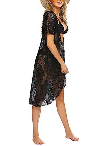 Avidlove Womens Sexy Lace Bikini Cover Up Lace Kimono Robe Black, XL