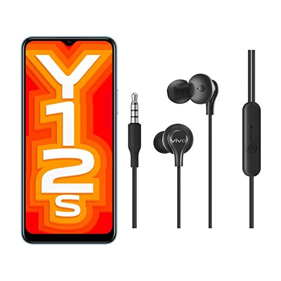 Vivo Y12s Glacier Blue (3GB + 32GB) + vivo Color Wired Earphones with Mic and 3.5mm Jack (Black)