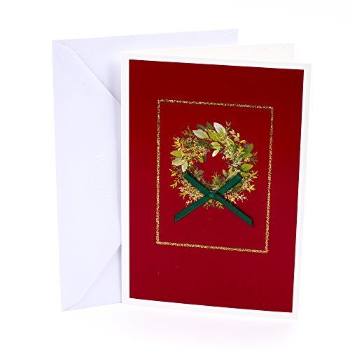 Hallmark Holiday Boxed Cards (Christmas Wreath, 16 Christmas Greeting Cards and 17 Envelopes)