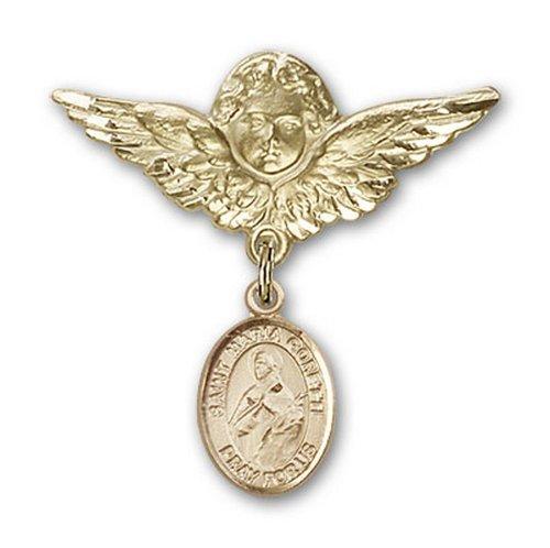 Icecarats Or Bijoux De Créateurs Rempli R. Maria Goretti Charme Ange Broche De Badge 1 1/8 X 1 1/8