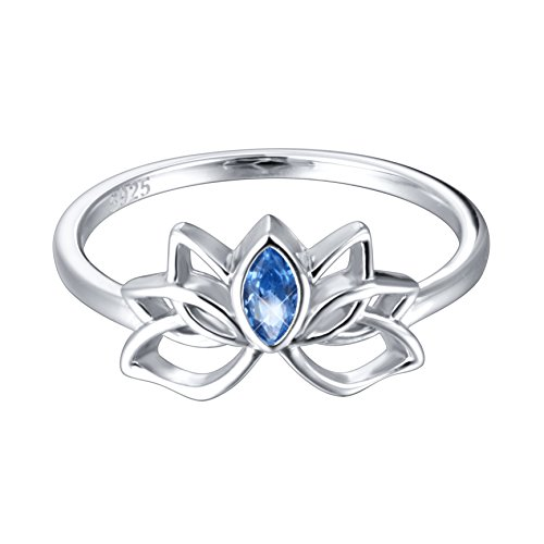 Ladytree Blue Lotus Flower Drop Ring Sterling Silver Band for Women, Size 8
