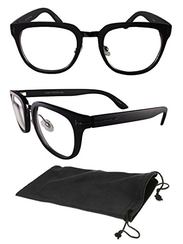Classic Wayfarers Nerd Vintage Women Men Unisex Clear Frame Clear Lens Glasses - Old School Hollywood Costume