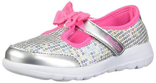 Skechers Kids Girls' GO Walk Joy-Sugary Sweet Sneaker, Silver/Multi, 11 Medium US Little ()